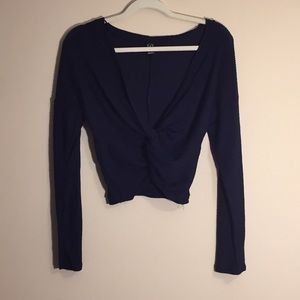 Long Sleeved, Knotted Crop Top Sweater